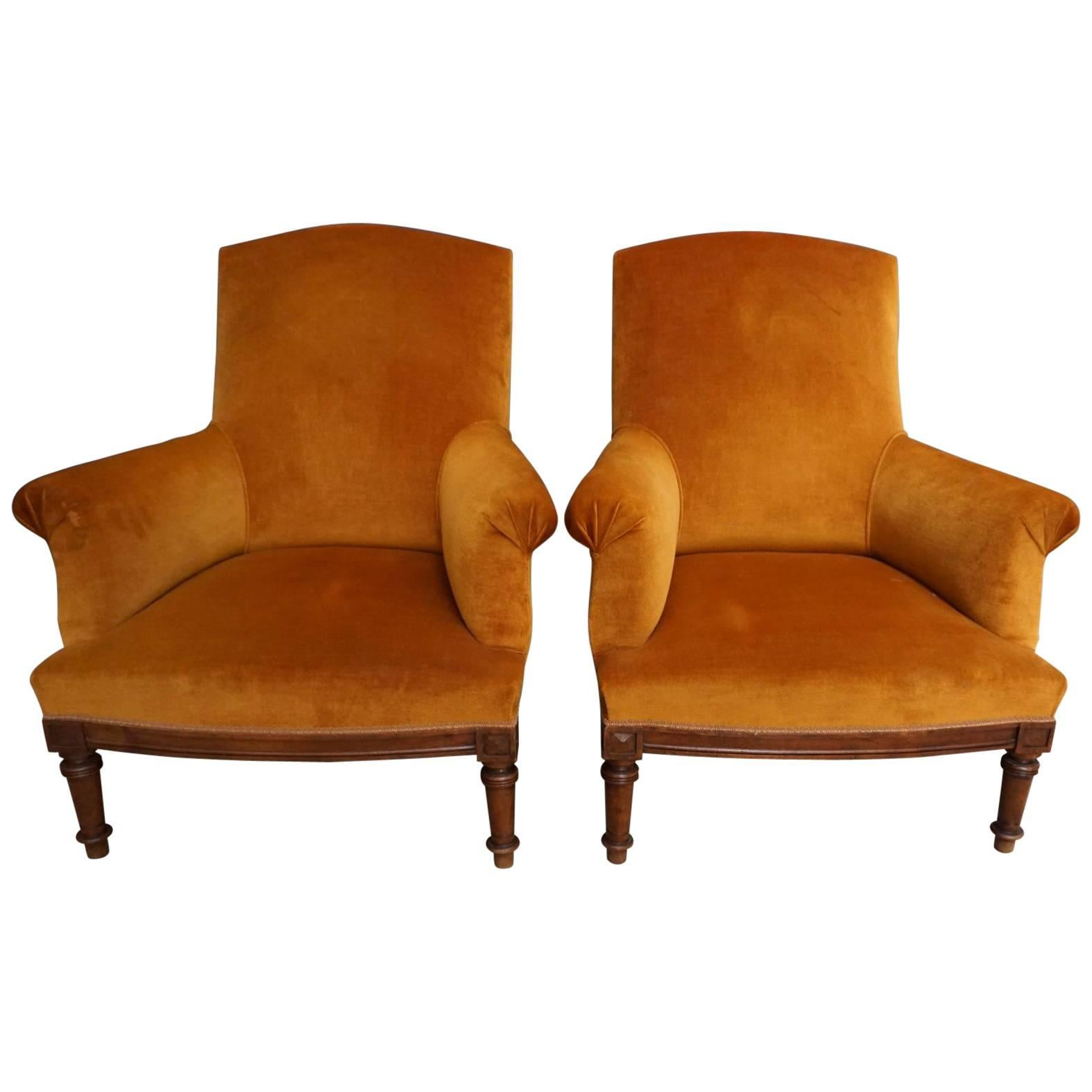 french velvet chair lift chairs for the elderly pair of orange lounge walnut frame 1920 1930s sale