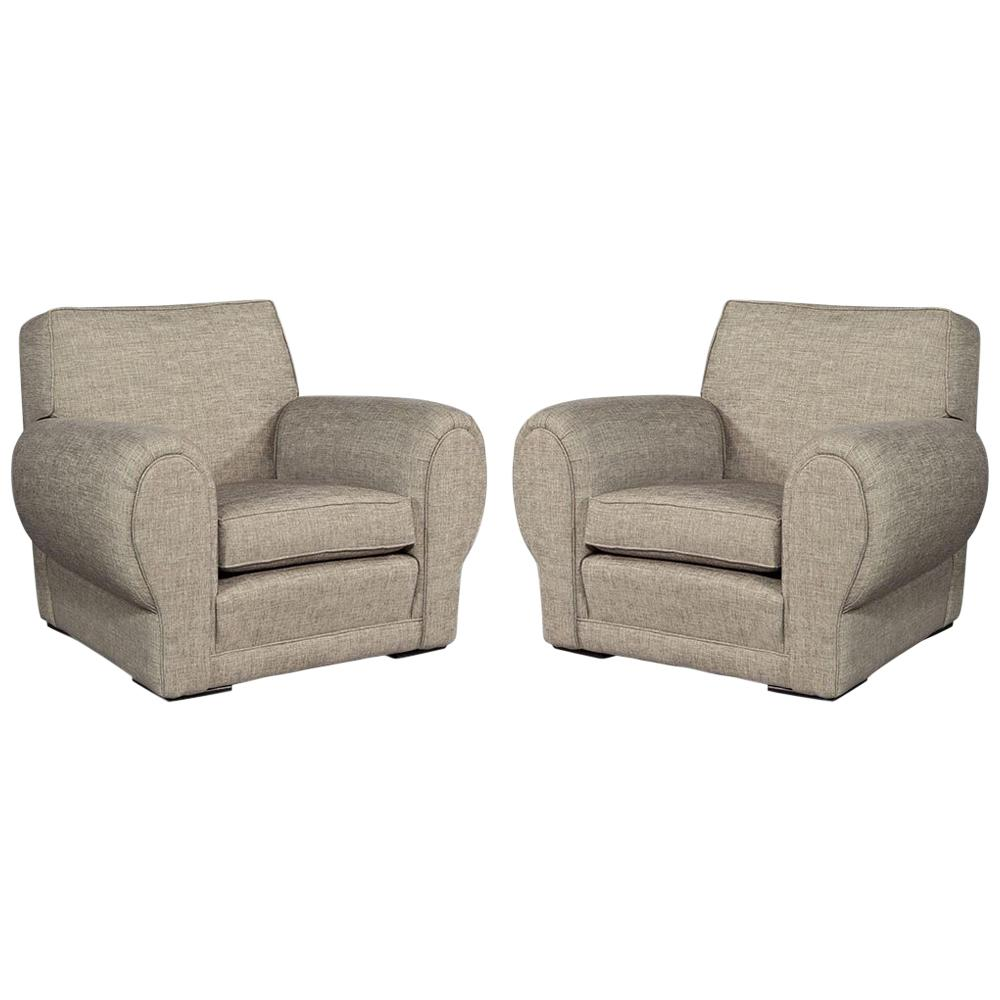 oversized upholstered chair office ball pair of club chairs for sale at 1stdibs