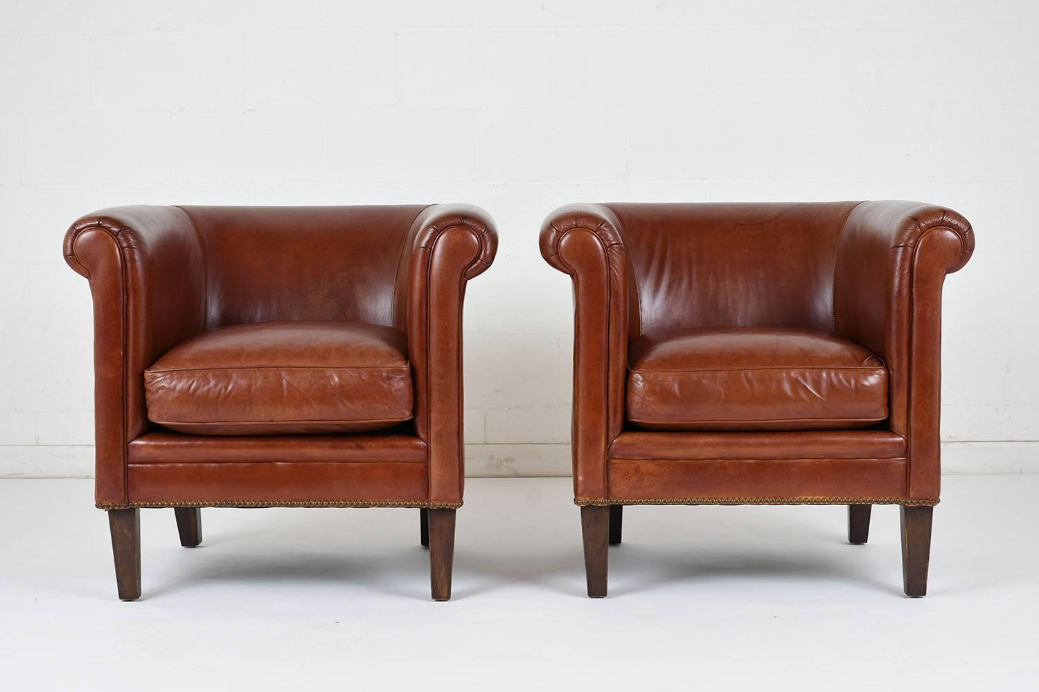 bernhardt brown leather club chair electric pictures pair of regency style chairs for sale at 1stdibs american