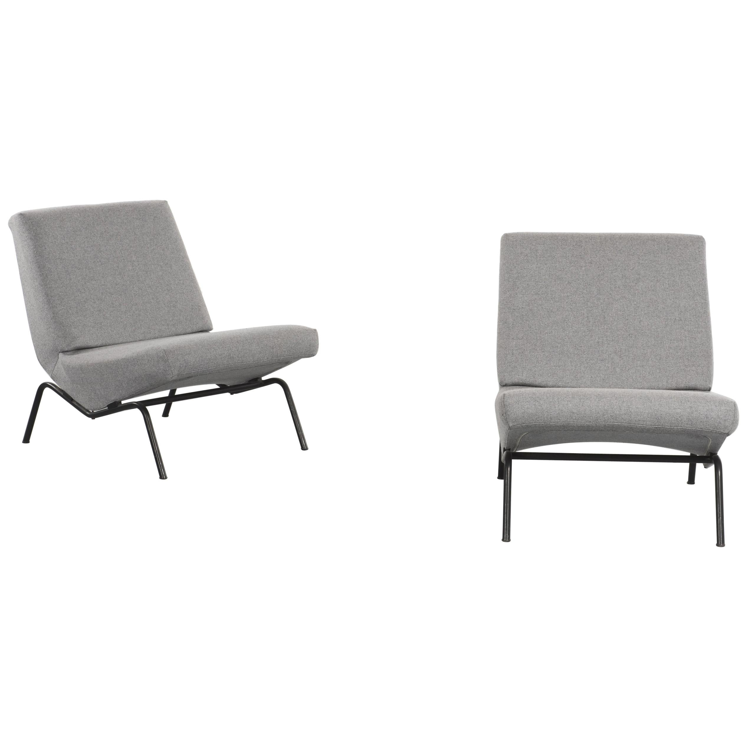 Pair Of Reupholstered Armless Chairs Cm194 Pierre Paulin For