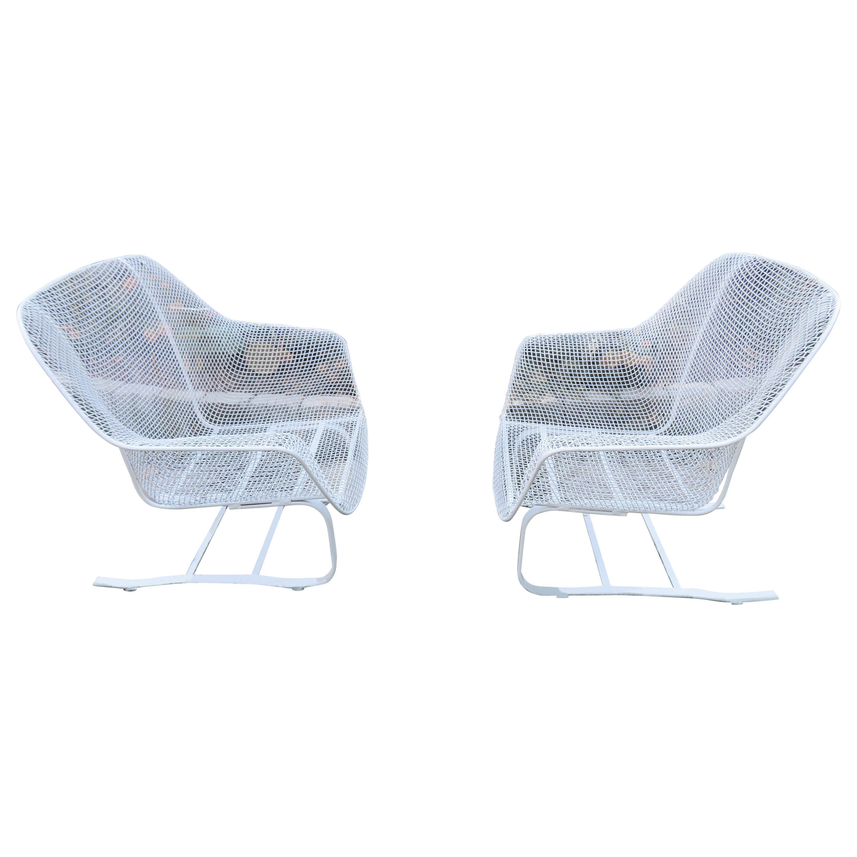 pair of john woodard sculptura springer patio lounge chairs midcentury