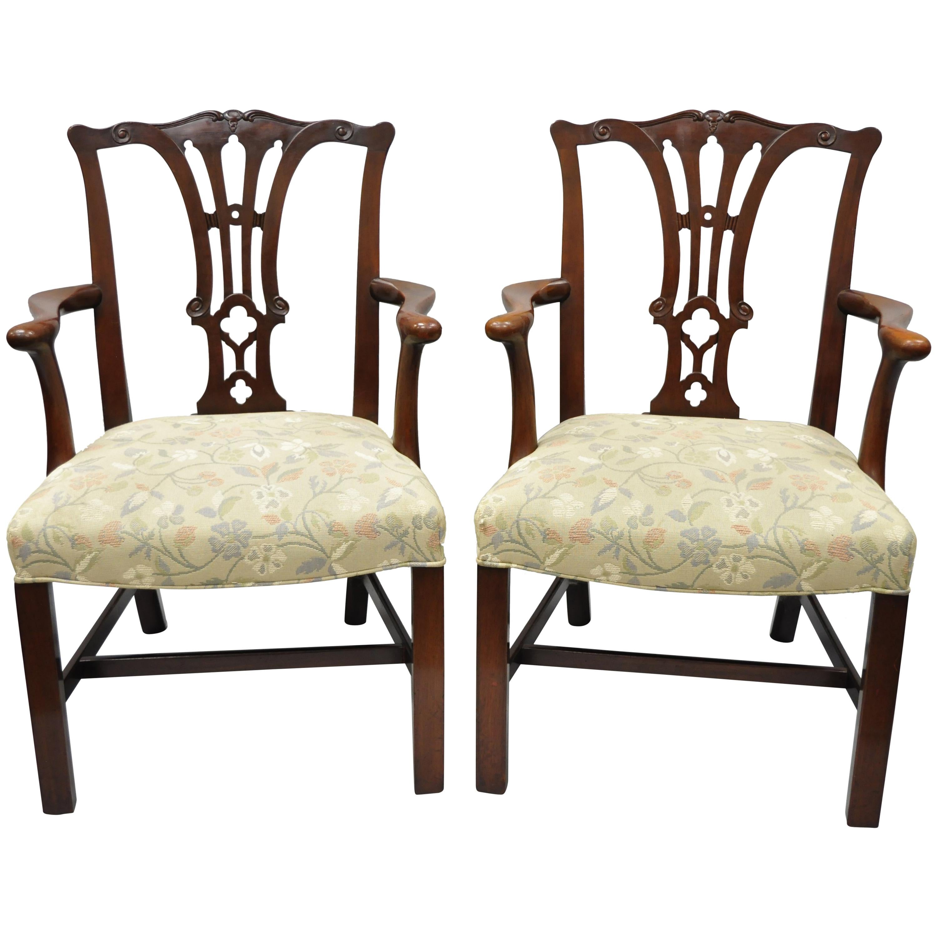 chippendale dining chair tied to room chairs 100 for sale at 1stdibs pair of schmieg kotzian mahogany style armchairs