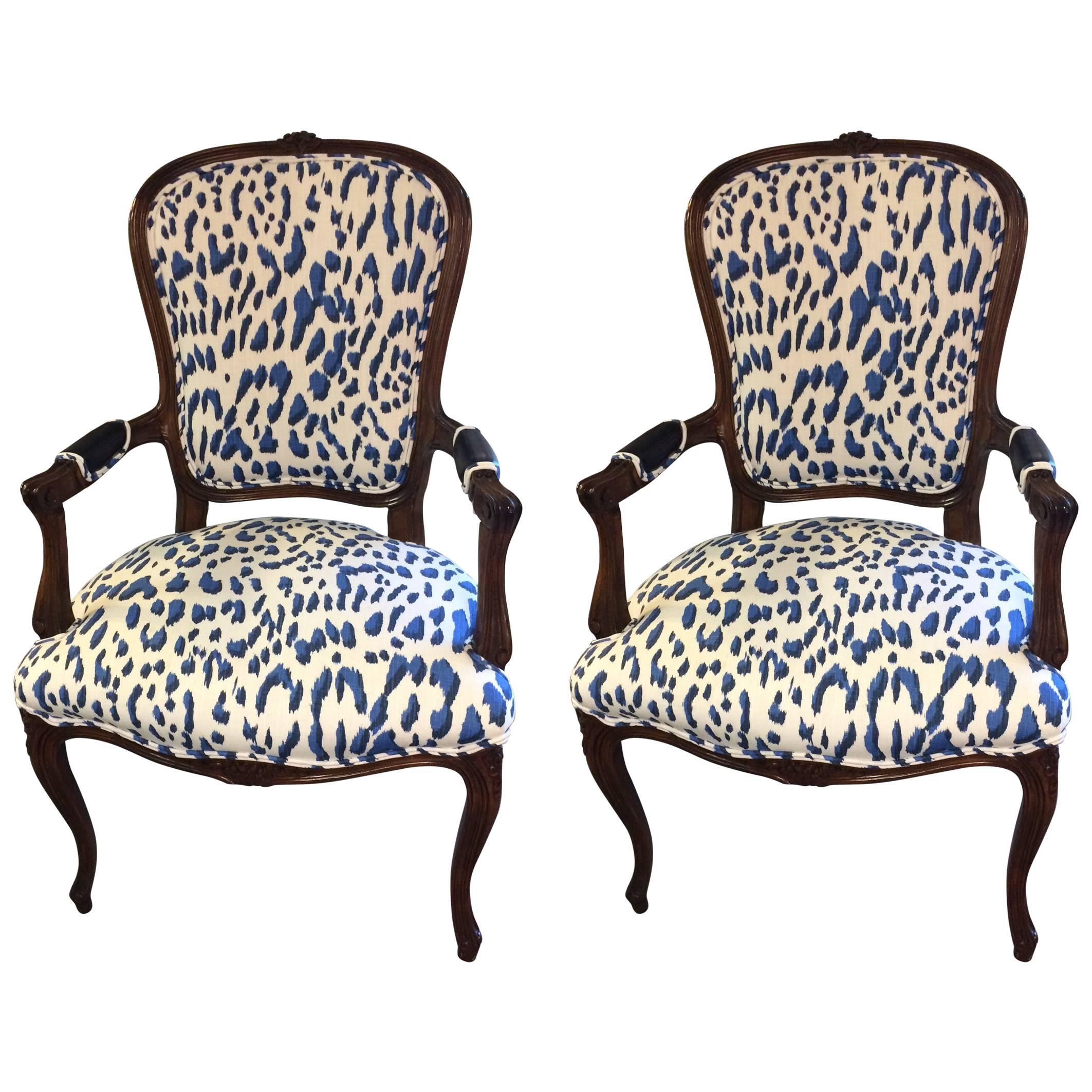 blue and white upholstered chairs vibrating sex chair pair of schnazzy armchairs in schumacher animal print for sale
