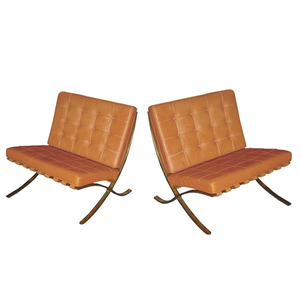 barcelona chairs for sale due north oversized directors chair pair of vintage brass designed by mies van der rohe knoll