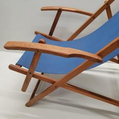 Canvas Beach Chair Folding Rocker Pair Of Vintage Retro Wooden Chairs With Armrests And 1950s For Sale 5