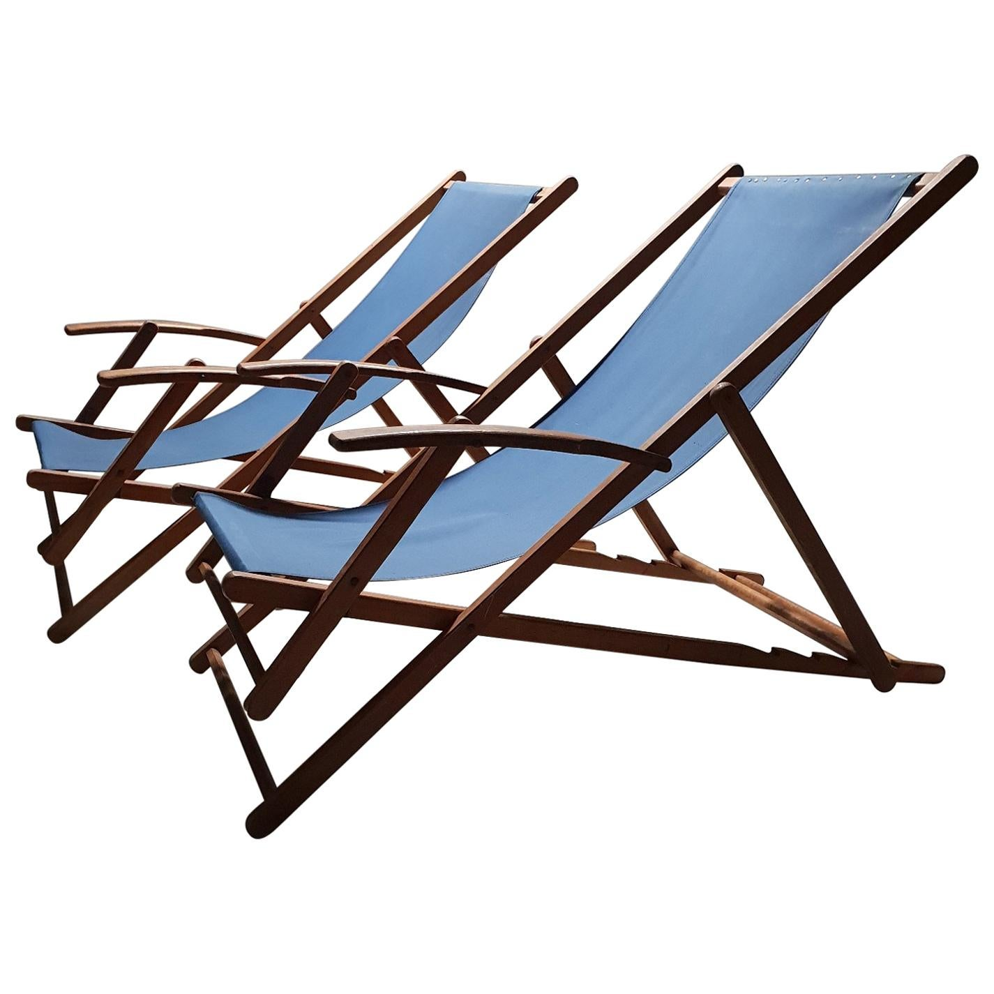 Folding Wood Beach Chair Pair Of Vintage Retro Wooden Folding Beach Chairs With Armrests And Canvas 1950s