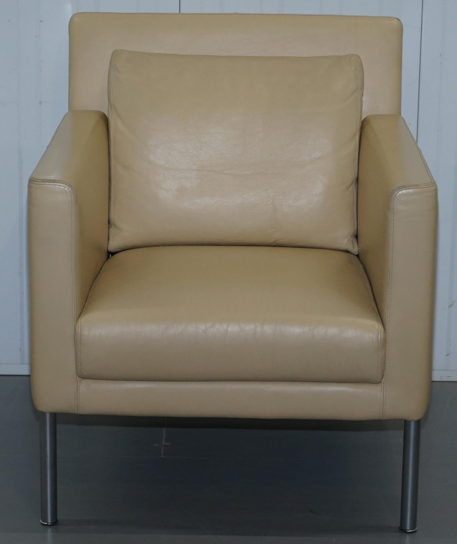 arm chairs for sale turquoise chair sashes pair of walter knoll jason 391 cream leather contemporary armchairs mid century modern