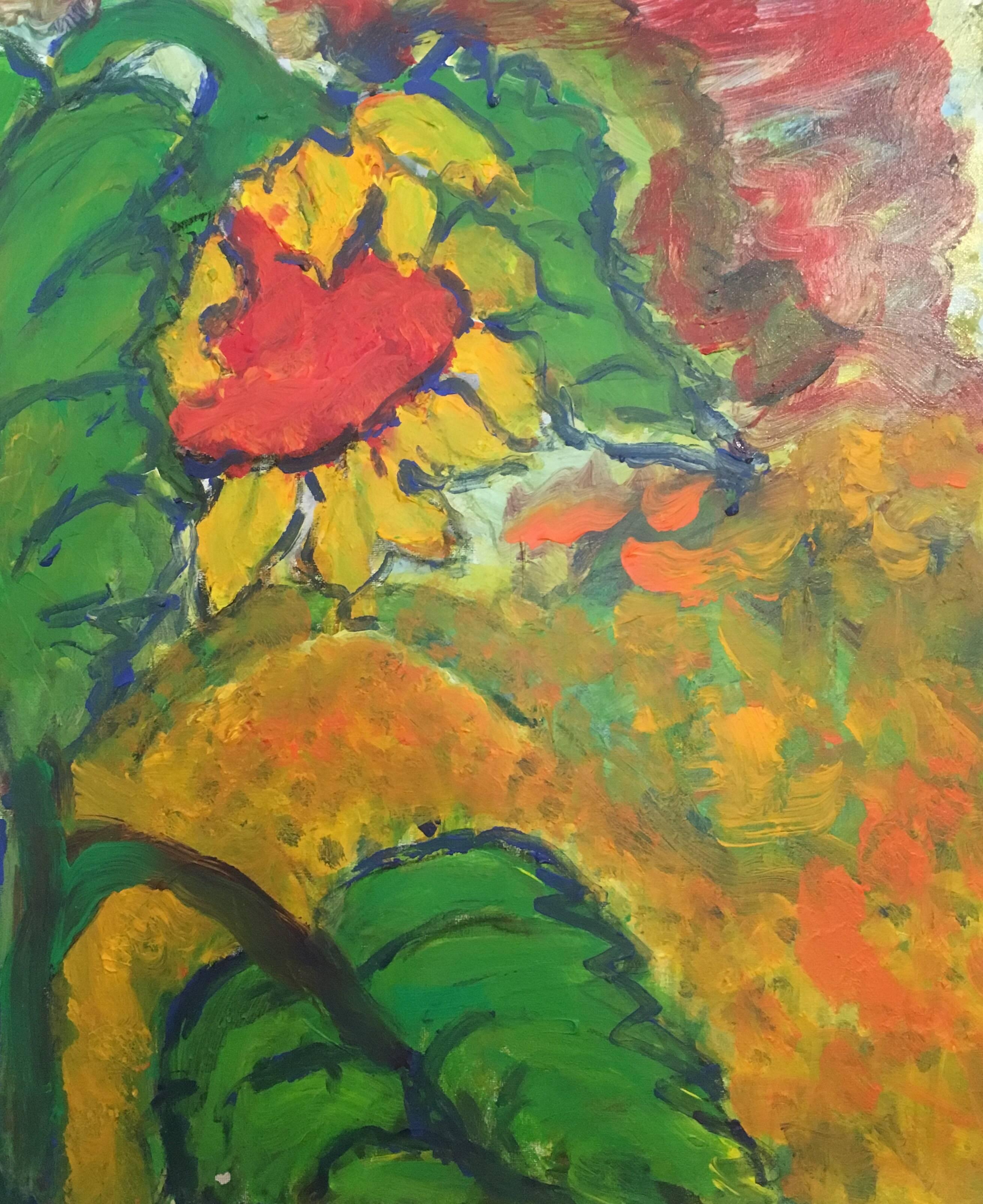 abstract sunflower impressionist british