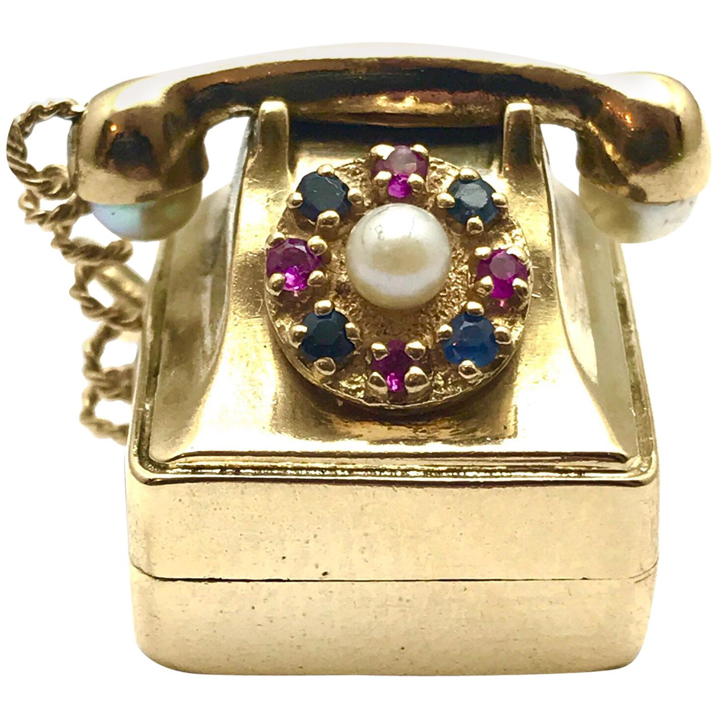medium resolution of pearl ruby and sapphire yellow gold musical rotary phone charm at 1stdibs