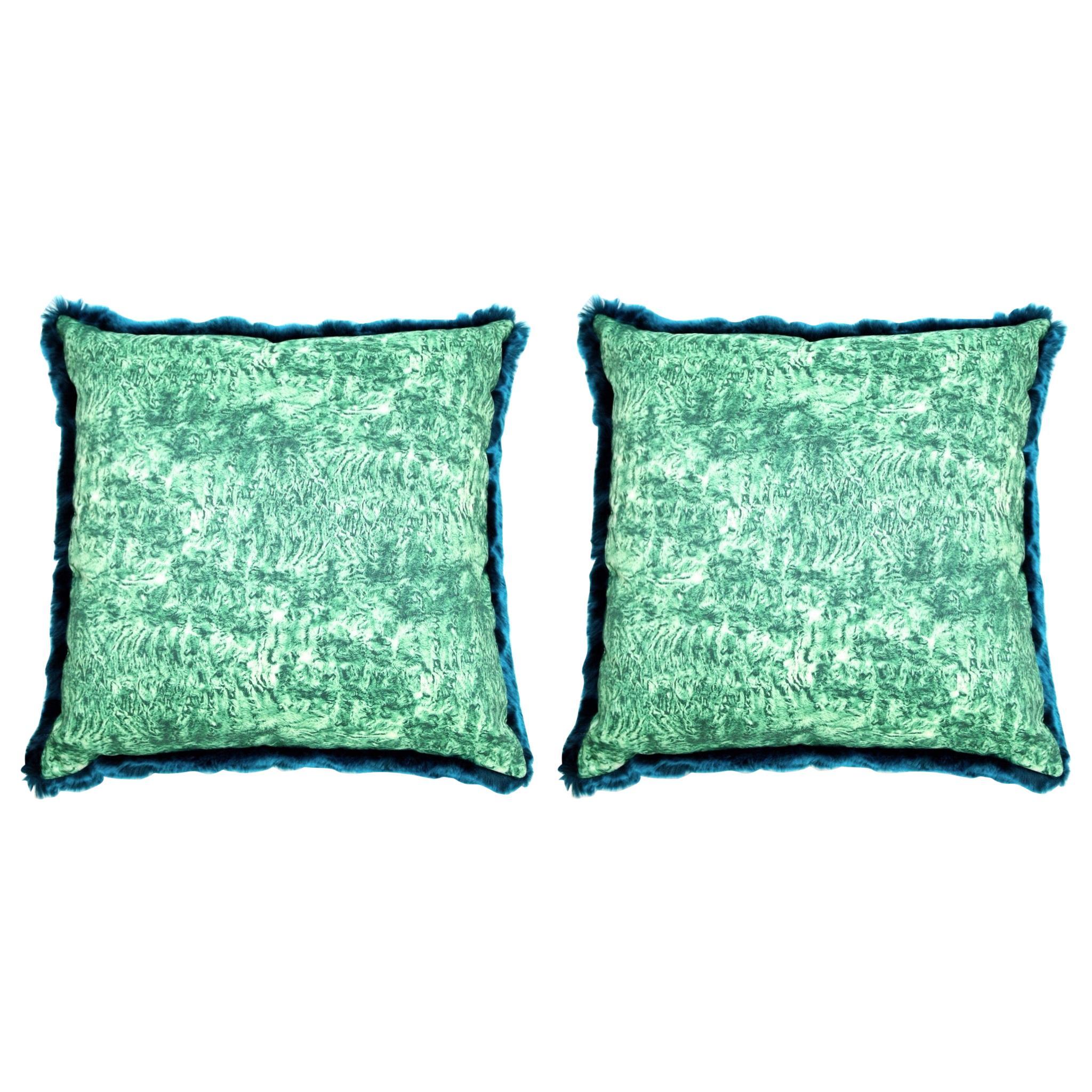 pelush teal chinchilla faux fur large throw pillow set pillow set pair