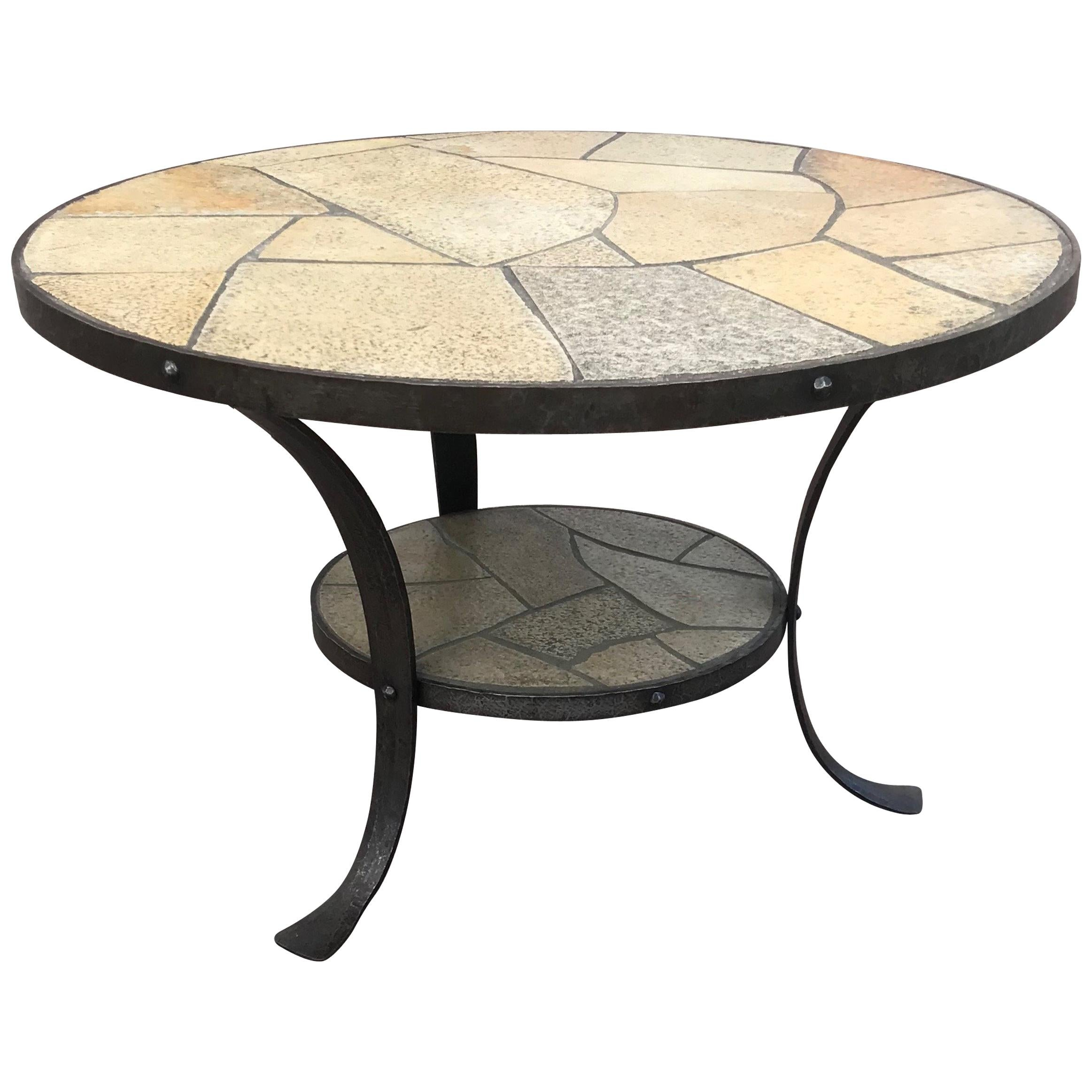 perfect size midcentury modern wrought iron base slate stone top coffee table