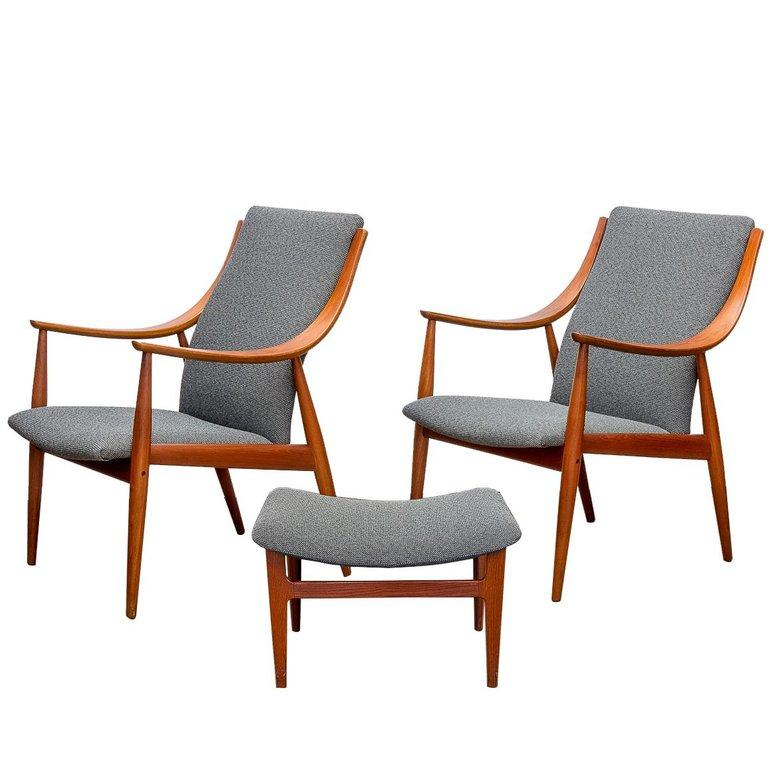 Chair And Ottoman Set Peter Hvidt Fd148 Easy Chairs And Ottoman Set For John Stuart