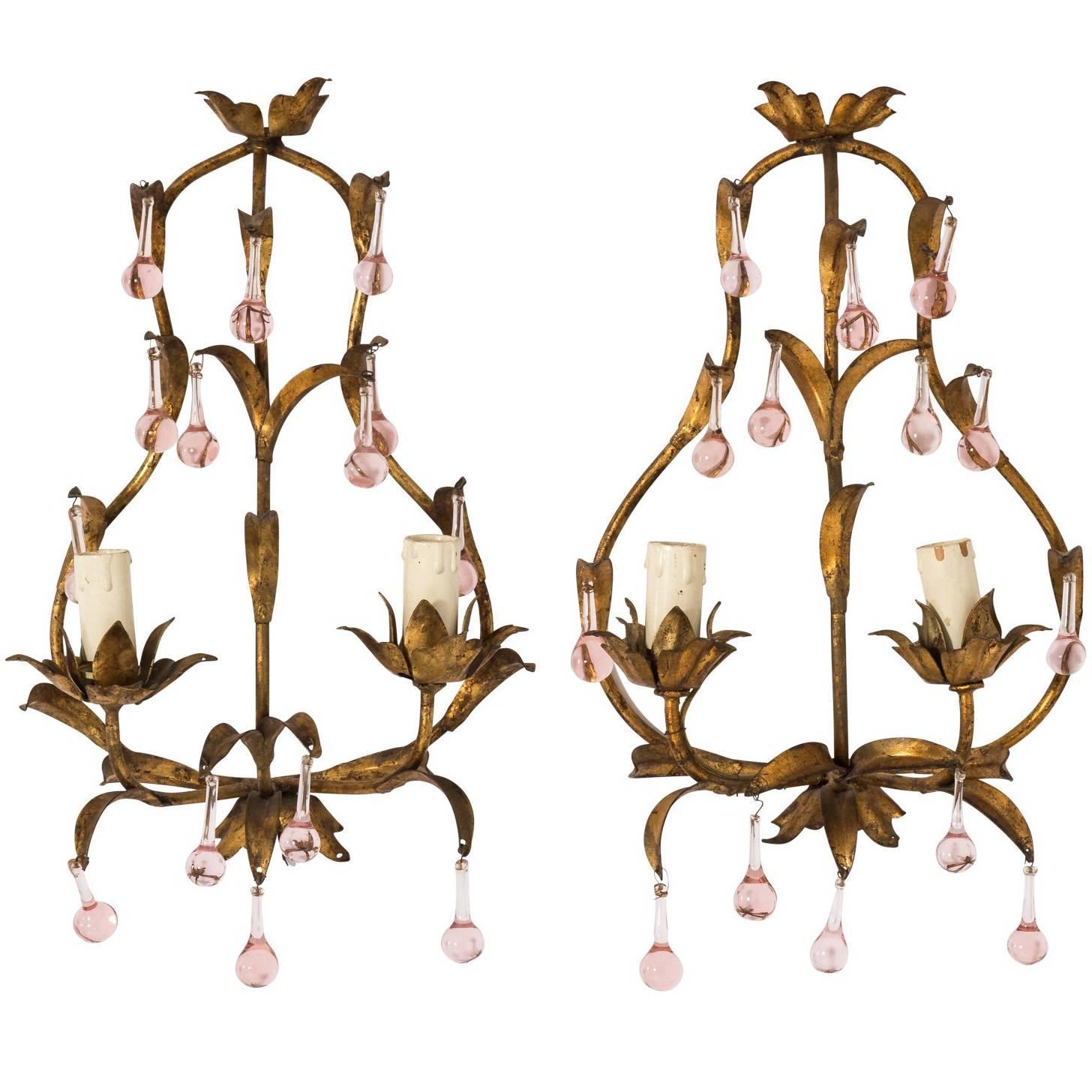 Pink Crystal Sconces For Sale at 1stdibs