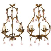 Pink Crystal Sconces For Sale at 1stdibs