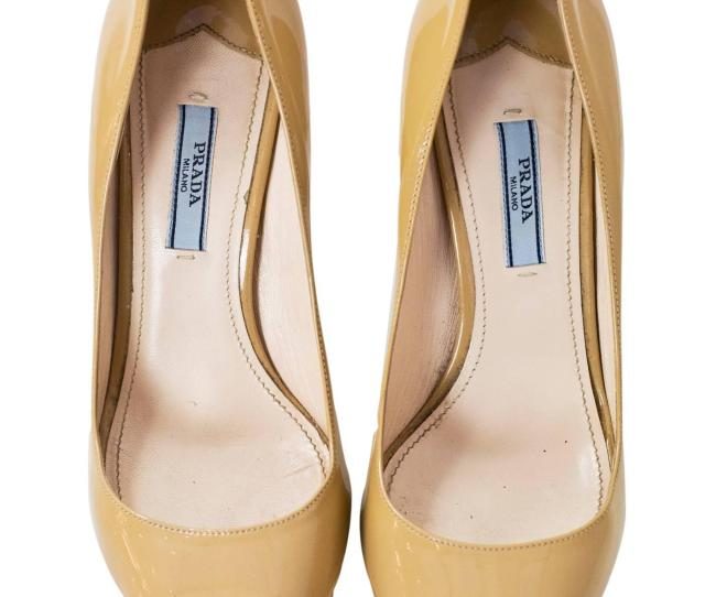 Beige Prada Nude Patent Open Toe Pumps Sz   With Box Db For Sale