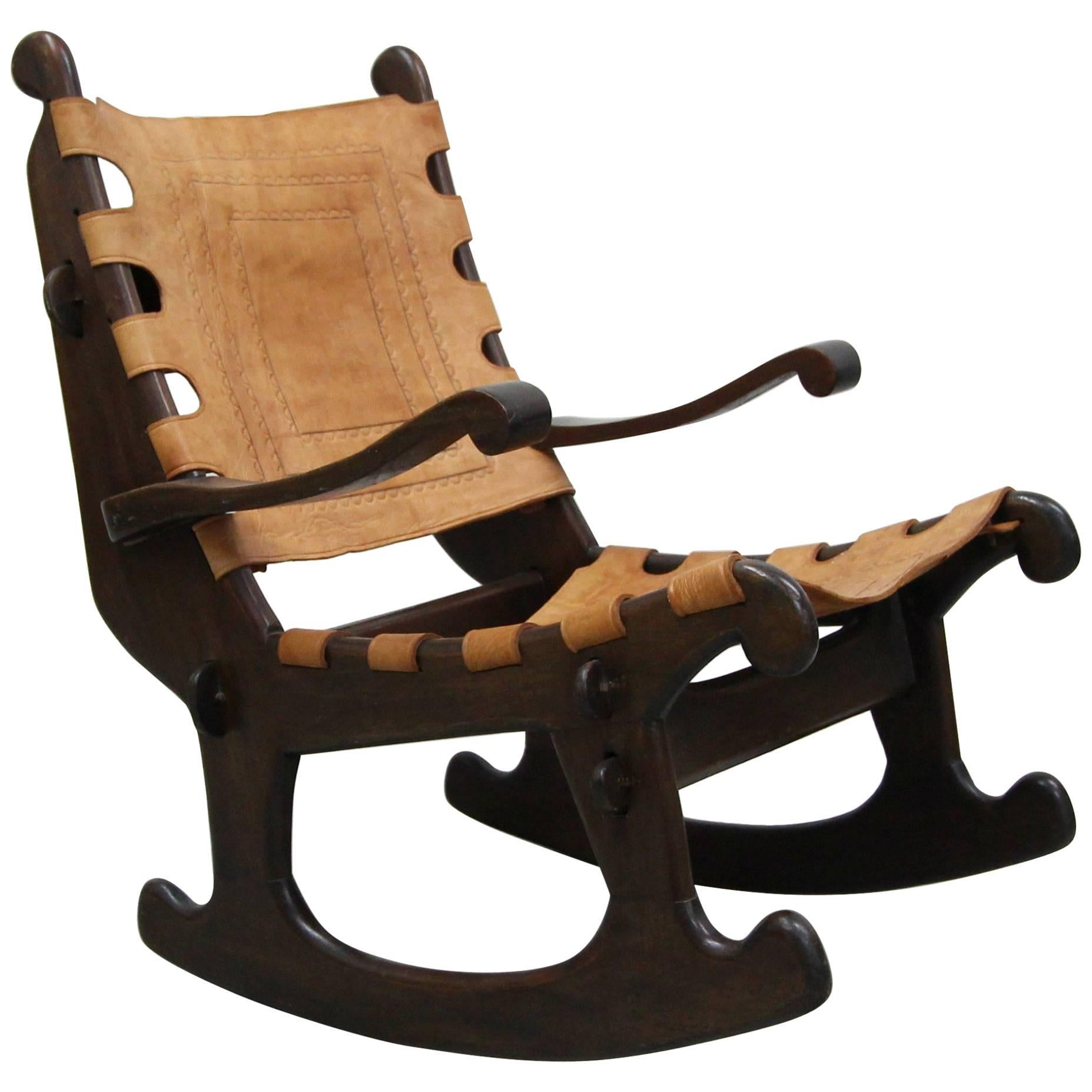 wood rocking chair styles 2 seater primitive style leather and made in ecuador by angel pazmino for sale