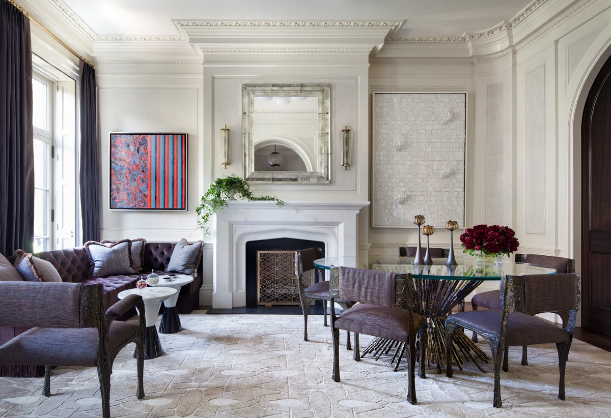 mixing furniture styles living room area rugs west village townhouse by shawn henderson interior design