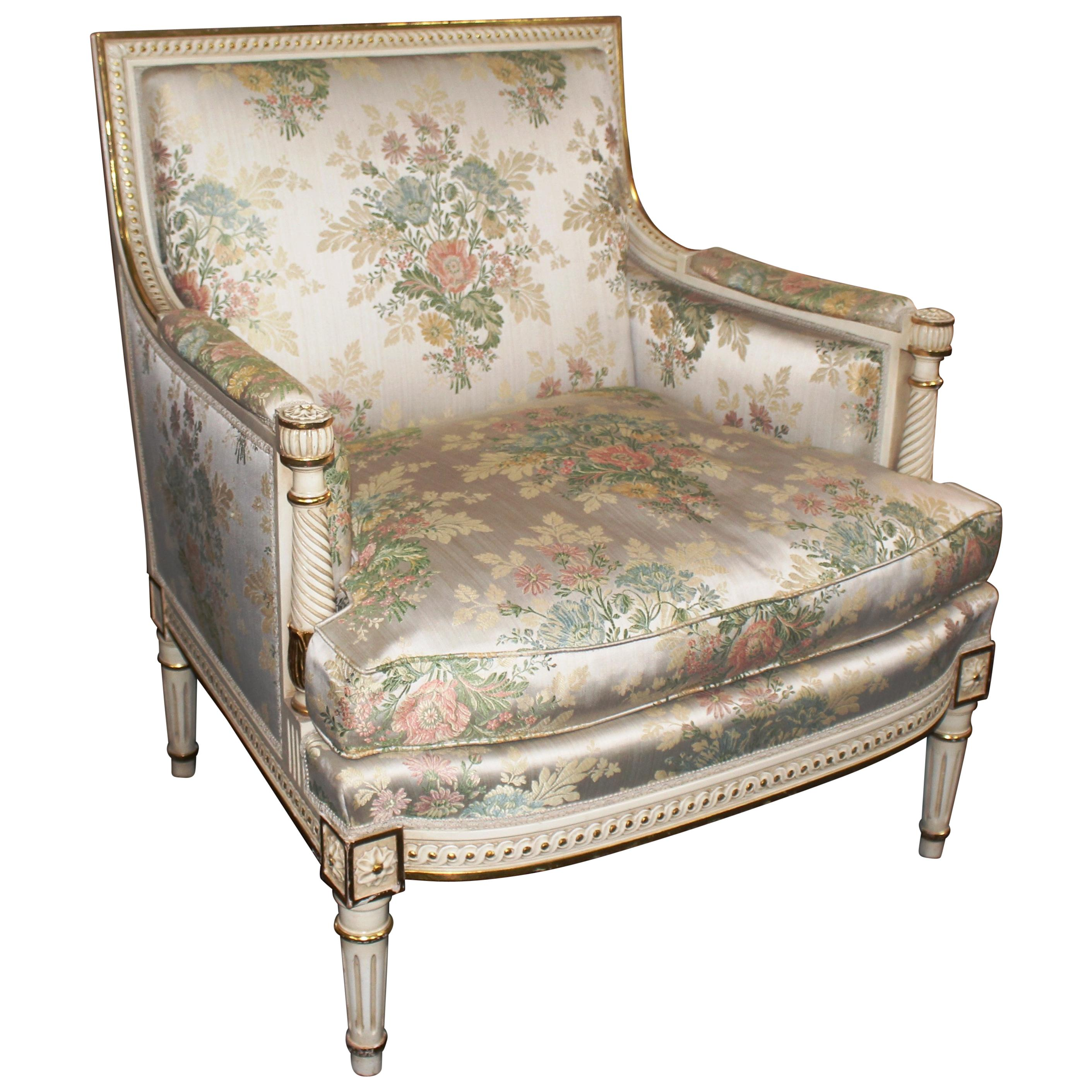floral upholstered chair folding with side table quality carved wood cream and gilt armchair for sale