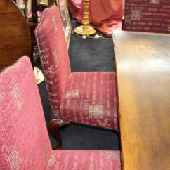Al S Chairs And Tables Chair Lift For Sale Quality Oak Refectory Table Six Carved Mahogany Upholstered Dining In Excellent Condition