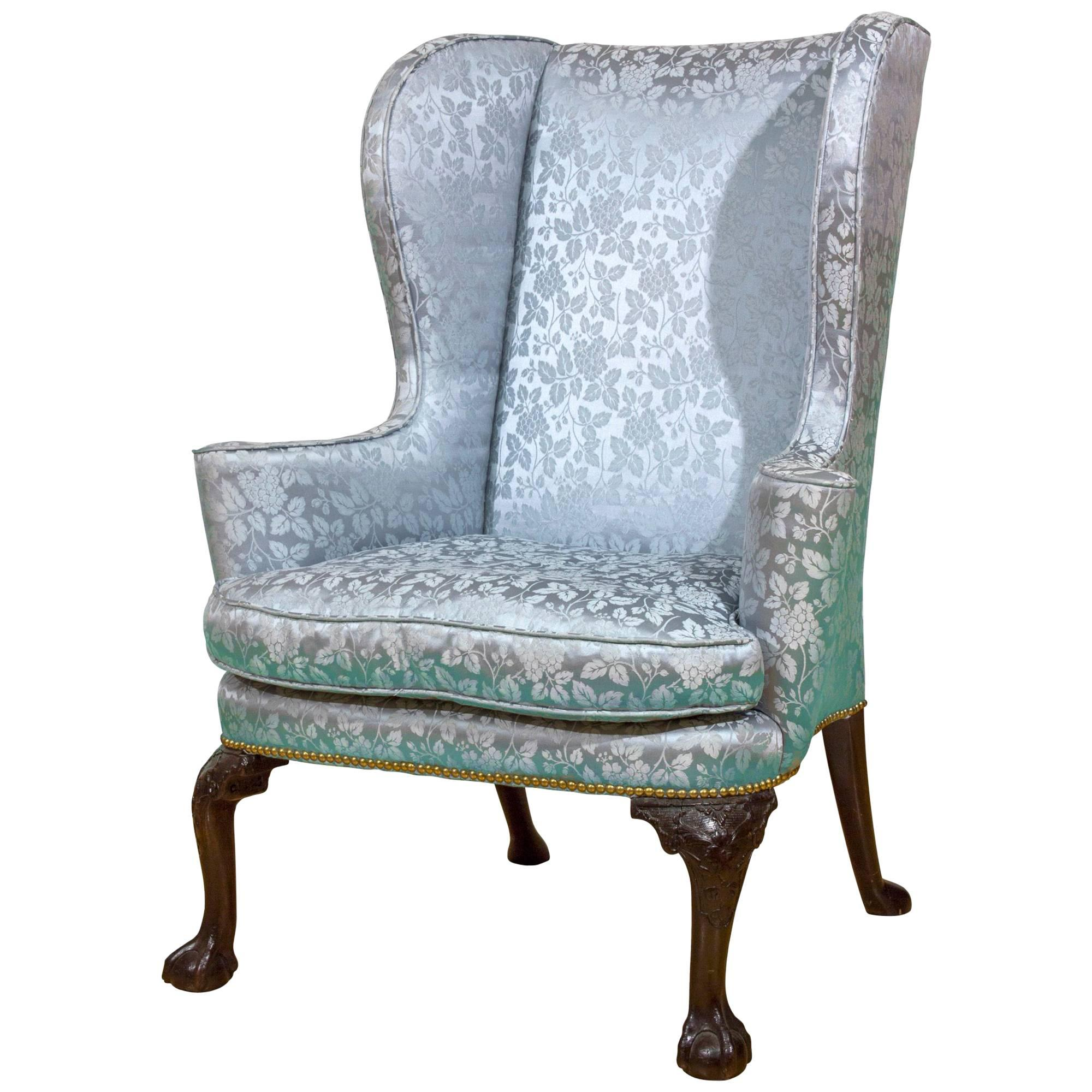 queen anne wing chair high seat for carved walnut english circa 1710 sale at george ii with knees claw ball feet