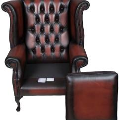 Queen Anne Wingback Chair Leather Dining Room Covers Target Style Red Tufted Wing Back Armchair At 1stdibs This Exquisite Was Crafted In England Around 1980 Designed