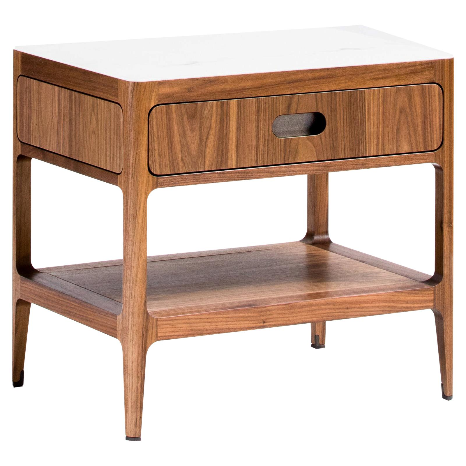 Customizable Walnut Nightstand With Drawer And Solid Shelf By Munson Furniture