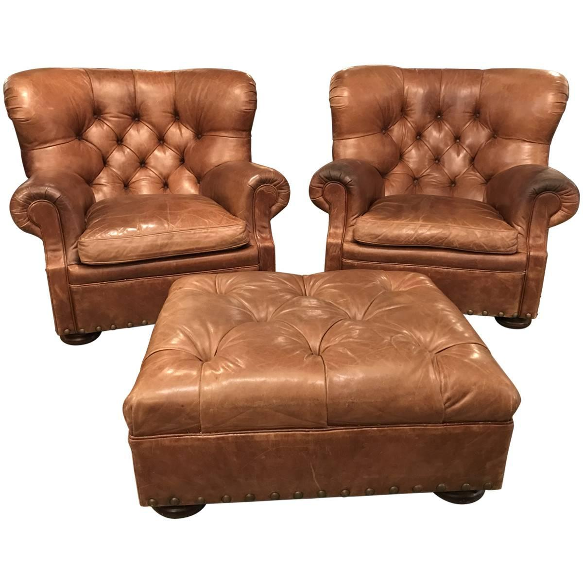 Leather Chair And Ottoman Ralph Lauren Home Pair Of Leather Writer S Chairs And Ottoman