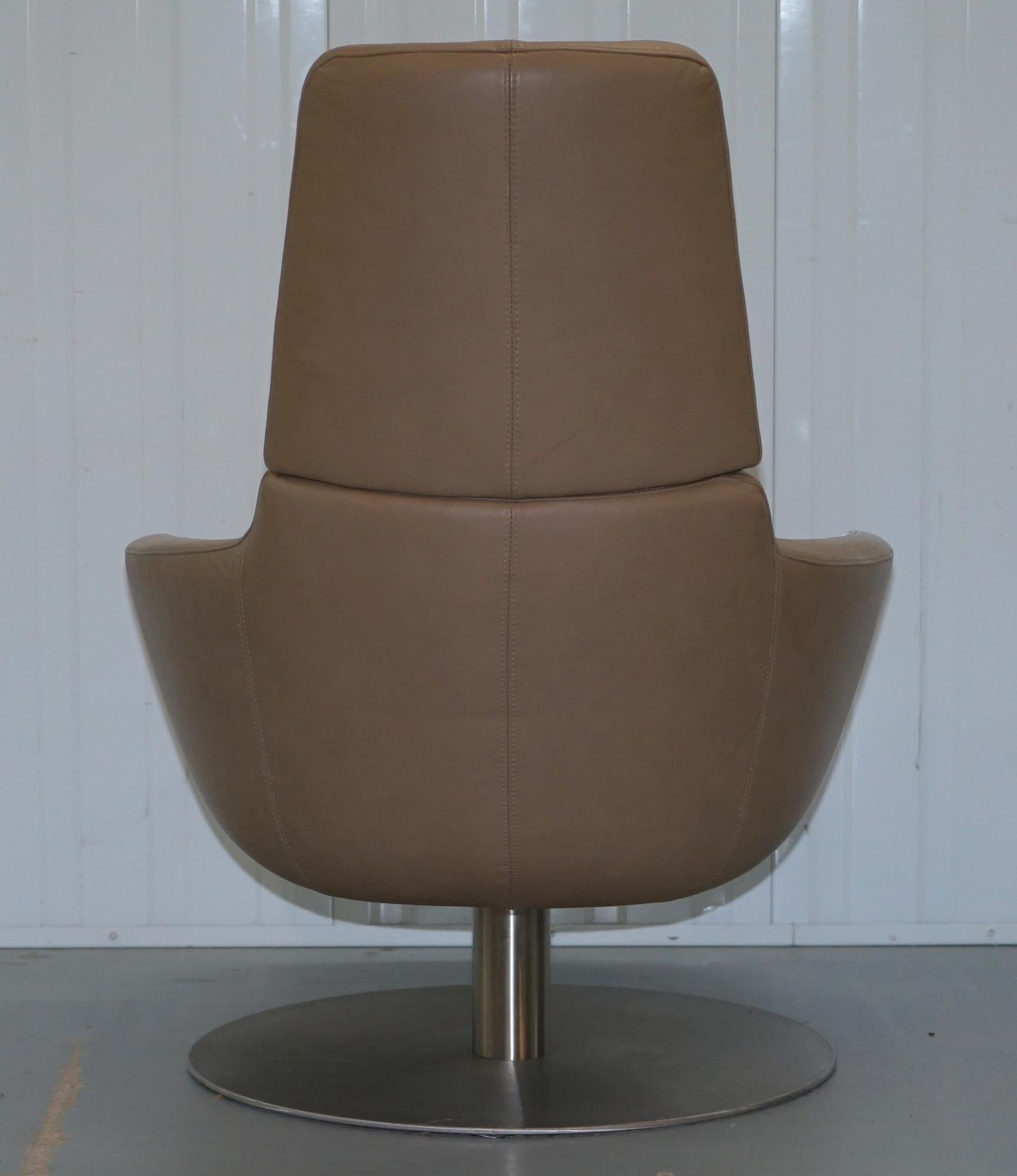 natuzzi swivel chair teal bungee rare made in italy brend armchair aged brown leather for sale 7