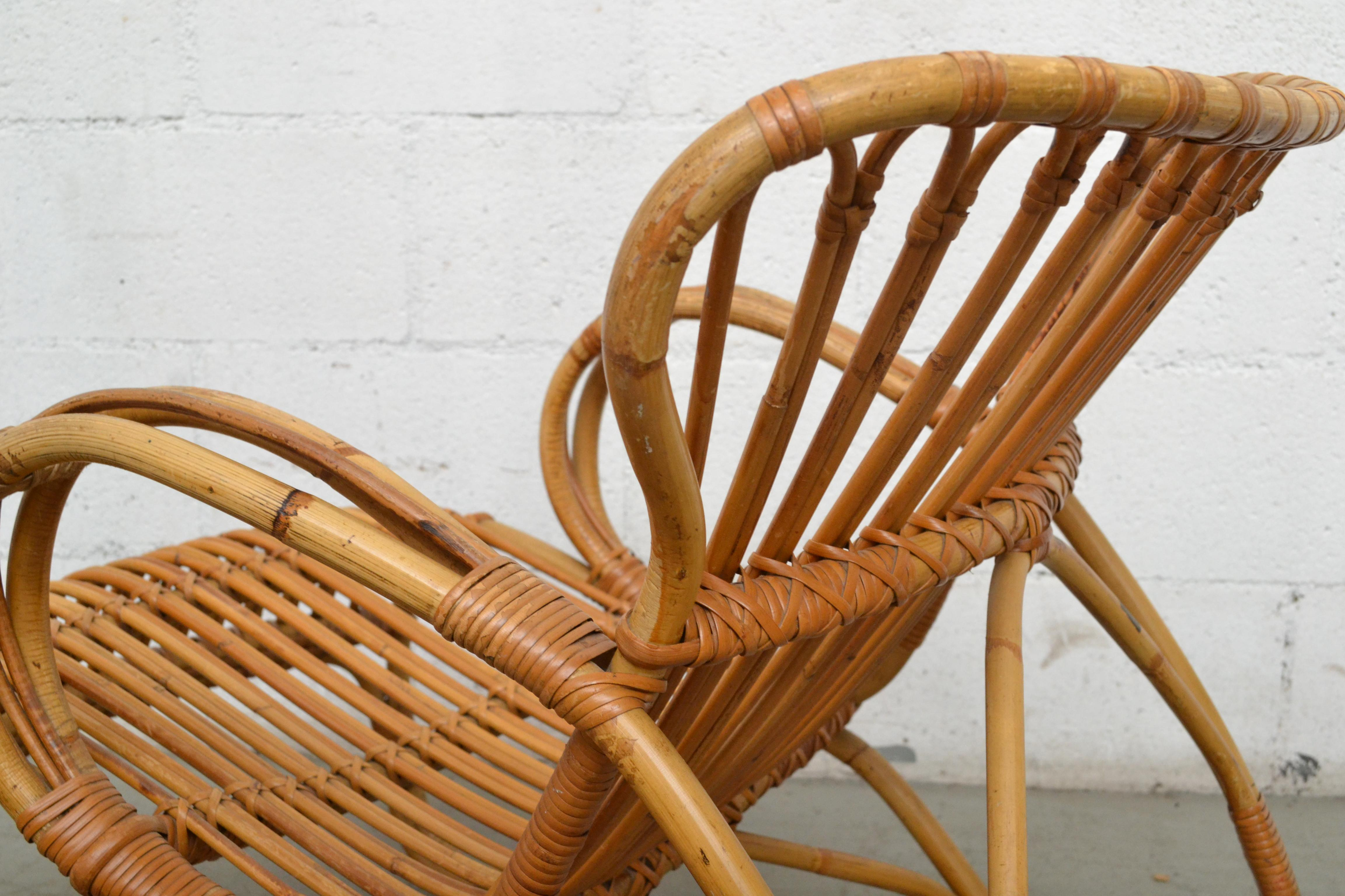 low back lawn chair 9 leopard print accent rohe noordwolde bamboo lounge for sale at 1stdibs