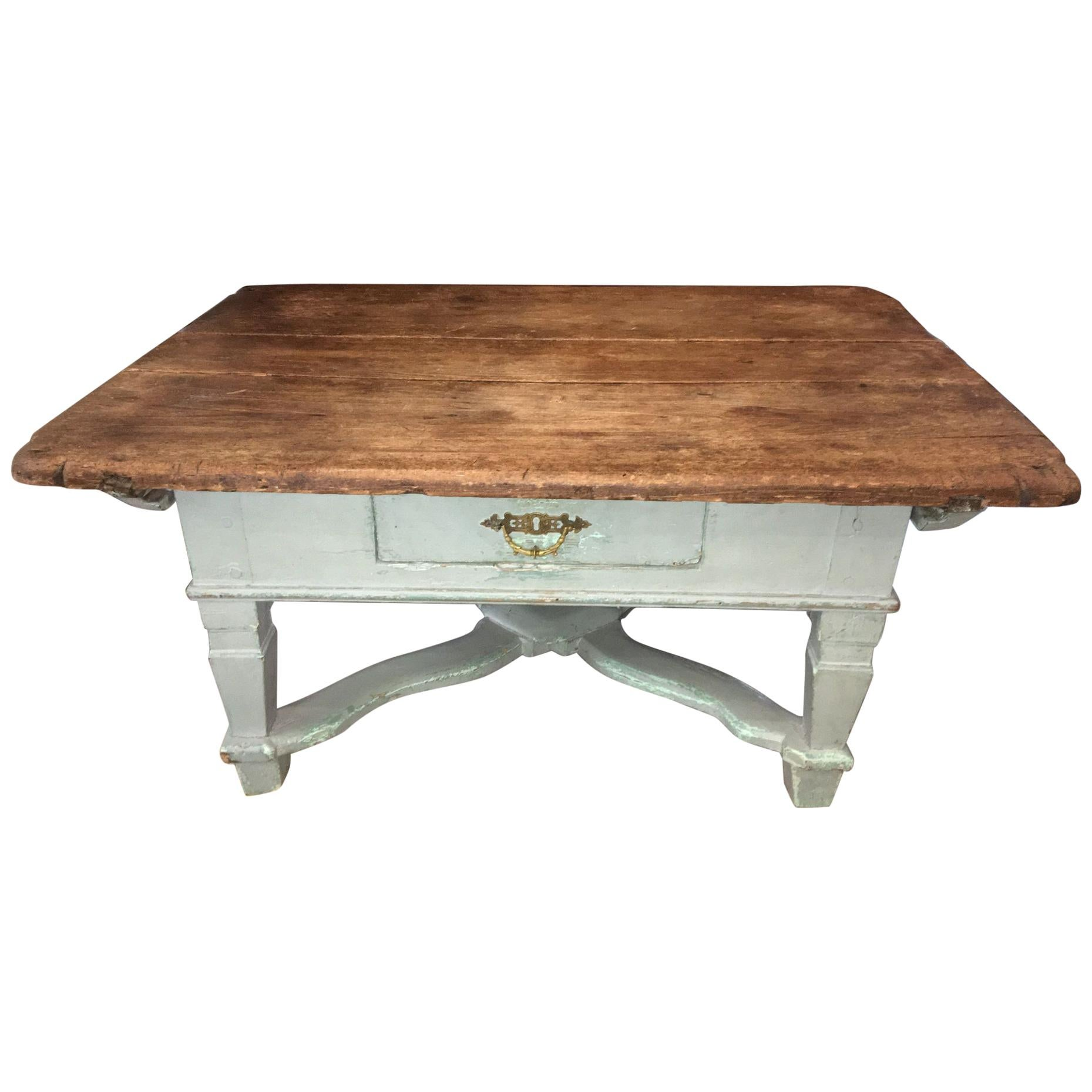 rustic pine and light blue coffee table 18th century repurposed