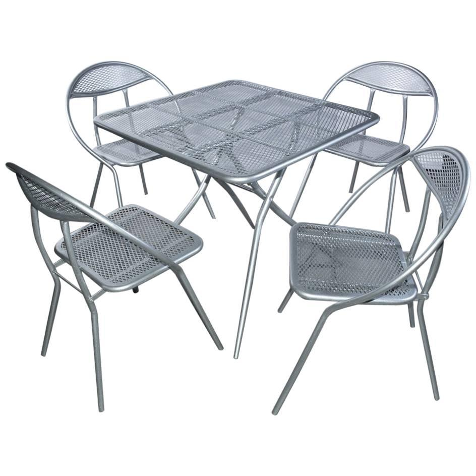 Outdoor Table And Chair Set Salterini Mid Century Modern Folding Metal Patio Or Garden Table And Four Chairs