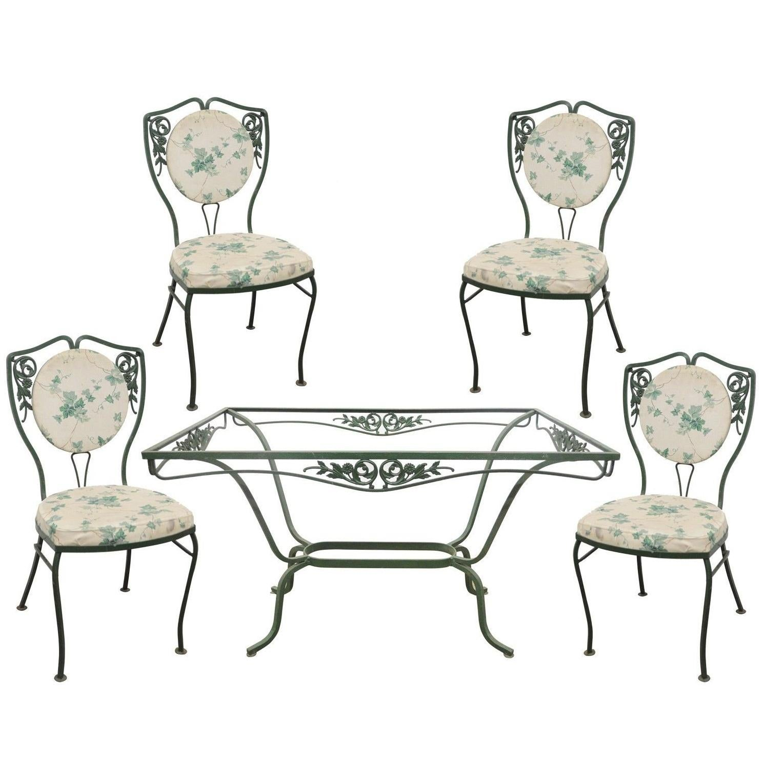 four chairs furniture wooden church chair salterini wrought iron patio dining set table garden for sale