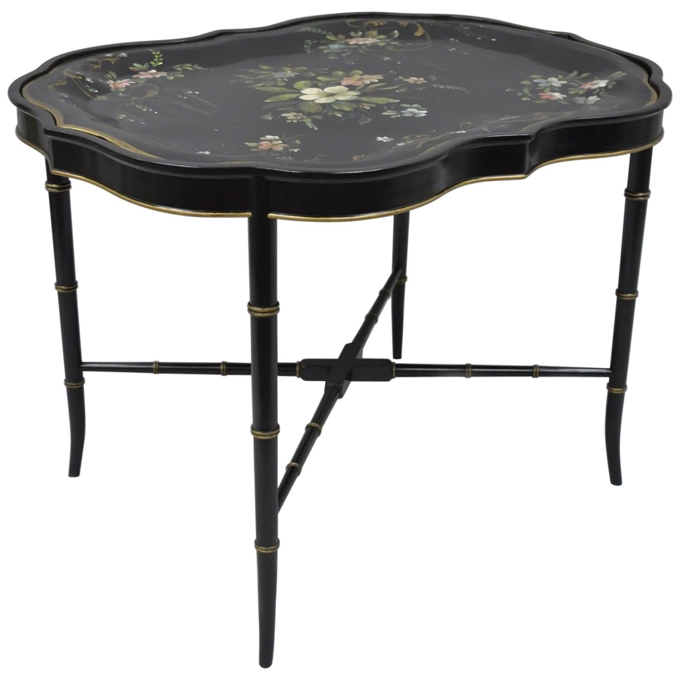 Scalloped Tole Metal Serving Tray Coffee Tea Table Black