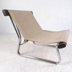 Canvas Sling Chair Ergonomic Kneeling Posture Scandinavian Modern And Chrome At 1stdibs This Vintage Features Tubular Wood Frame With A Seat
