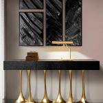 Sculptural And Luxurious Argos Futuristic Console Table In Black And Gold At 1stdibs