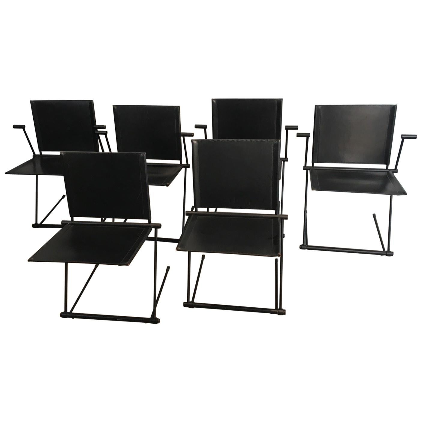 leather armchair metal frame peg perego siesta high chair cover and chairs set of 6 for sale at 1stdibs black lacquered armchairs