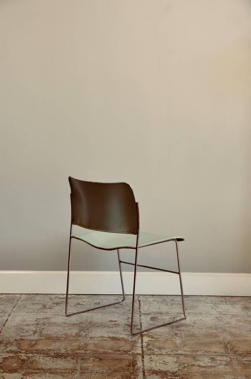 Set Of Six Teal And Chrome David Rowland 40 4 Stacking Chairs