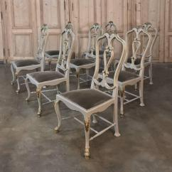 Grey Painted Chairs Red And White Barber Chair Set Of Eight 19th Century Gilded Italian Dining Baroque For Sale