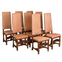 High Back Dining Chair Custom Covers And Linens By Yvonne Set Of Eight Antique Leather Upholstered Chairs For Sale
