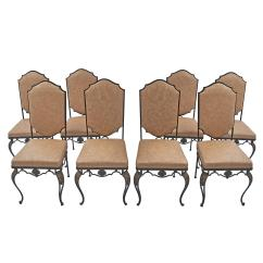 Wrought Iron Dining Chairs Kids Table With 4 Set Of Eight French Circa 1900 For Sale
