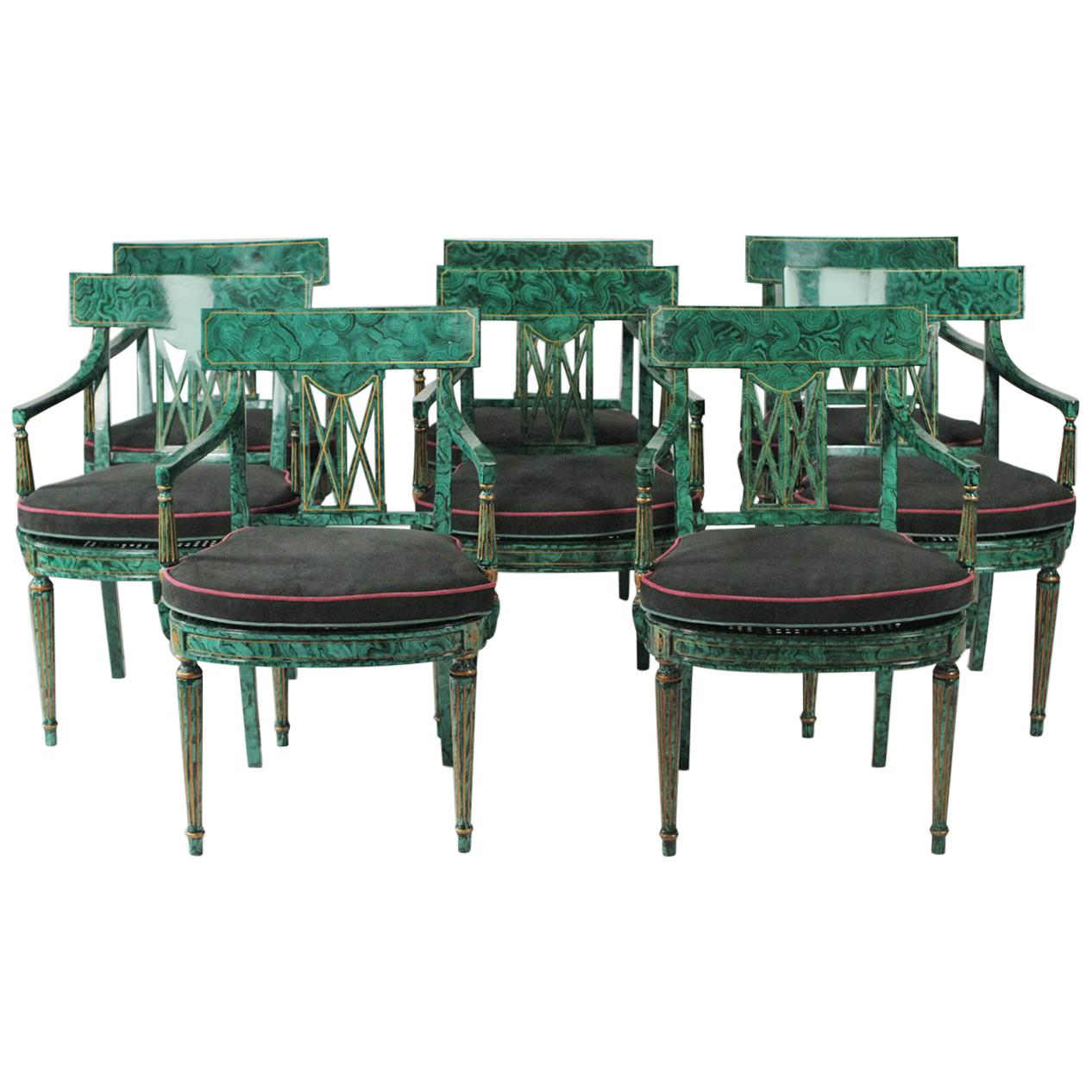 maitland smith dining chairs accent under 150 set of eight faux painted malachite room armchairs for sale