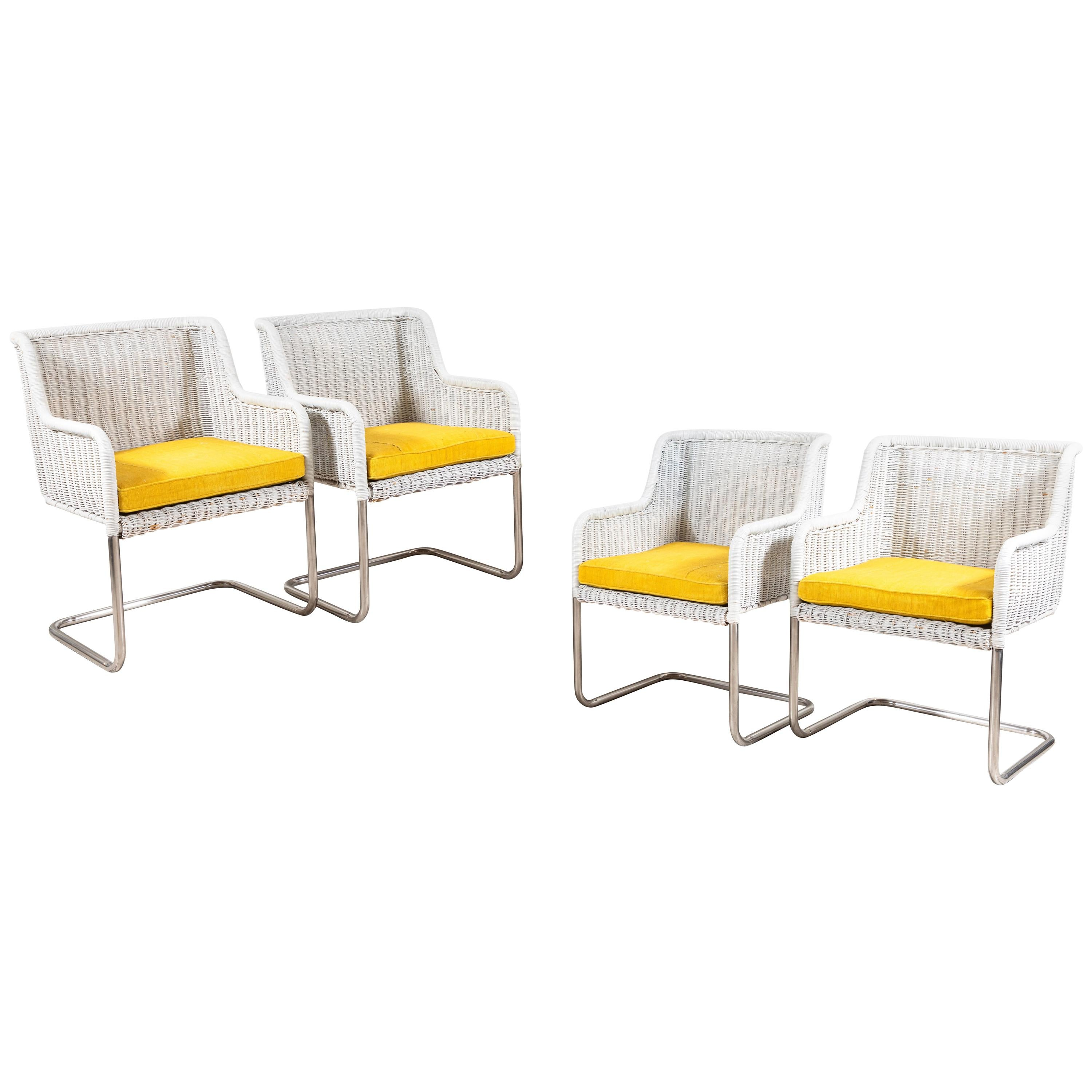 cushions for wicker chairs rush seat repair set of four harvey probber style white with yellow sale