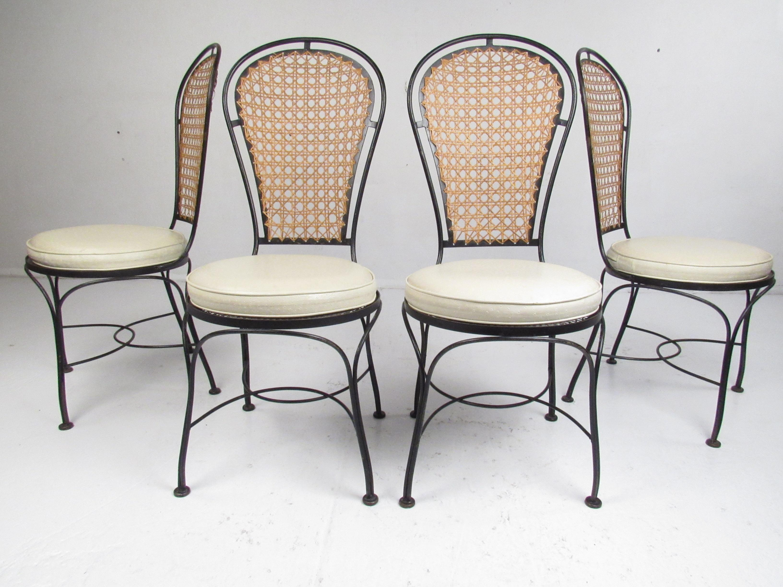 wrought iron dining chairs desk chair and set of four mid century with a cane backrest for sale