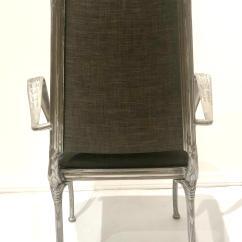 Tall Back Chairs Stylish Folding Set Of Four Polished Raw Cast Aluminum Upholstered Hollywood Regency Seat