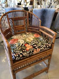Set of Four Rattan Bamboo Brighton Arm Dining Chairs ...
