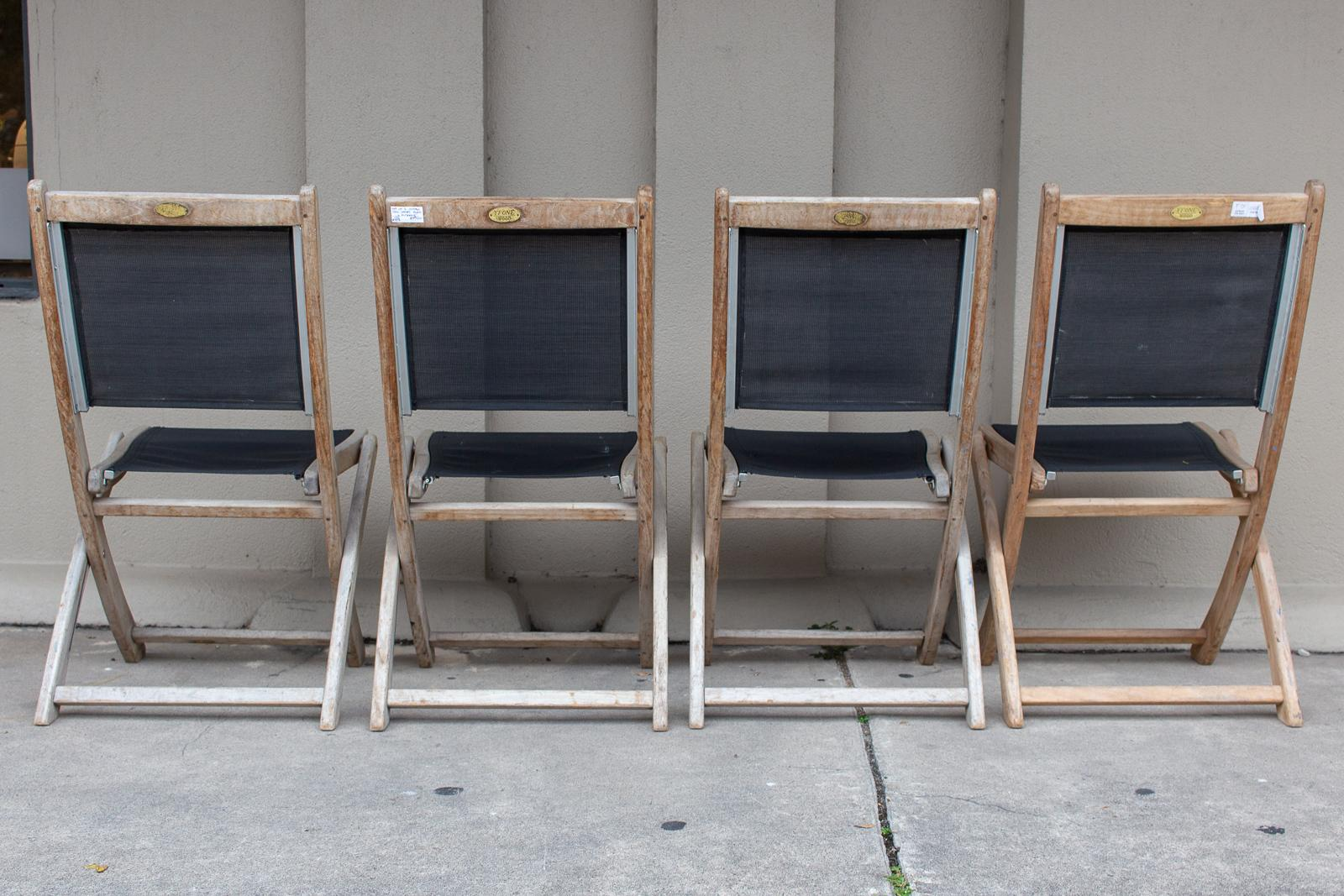 folding chair nylon ergonomic kickstarter set of four vintage teak and outdoor chairs found in french france for sale