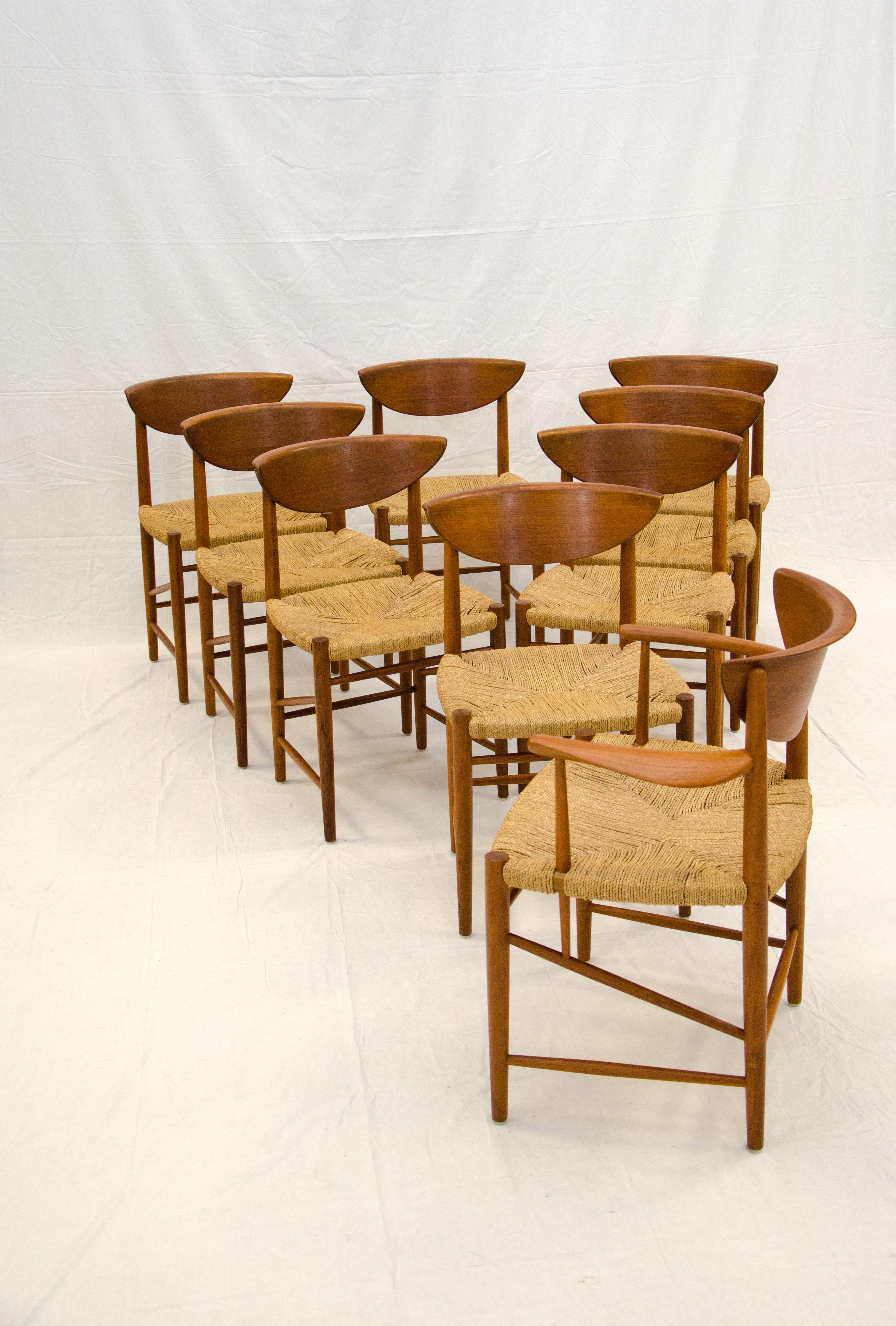 Seagrass Dining Chairs Set Of Nine Danish Teak Dining Chairs By Peter Hvidt