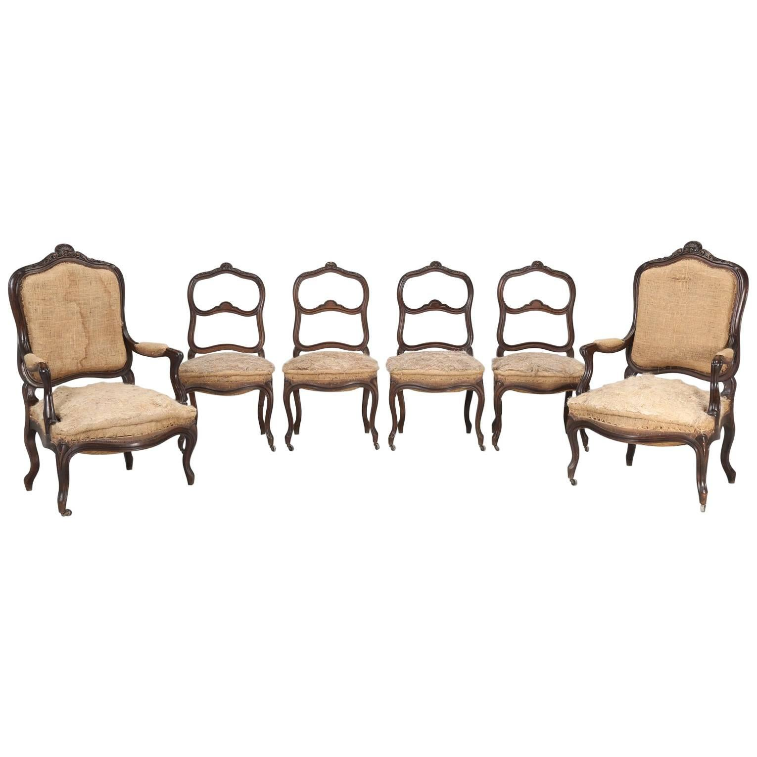 Antique Parlor Chairs Set Of Six Carved French Antique Living Room Or Parlor Chairs