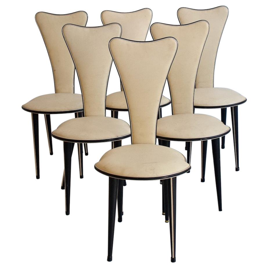 dining chairs italian design room with cherry wood legs set of six from the 1950s by umberto mascagni for sale
