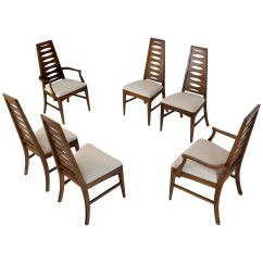Mid Century Dining Chairs Armchairs Accent Modern Adrian Pearsall Tall Back Set Of Six Tapered Shape